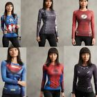 New Women Marvel Superhero Compression Slim Long Sleeve T-Shirts Sports Clothing
