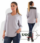Stylish Woman Blouse Twill and Eco-leather 3/4 Sleeve Casual- Plus size