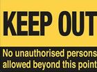 KEEP OUT NO UNAUTHORISED PERSONS METAL PLAQUE SIGN - SLIGHT FLAW SEE BELOW 489
