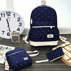 Canvas Backpack Girl Student Book Bag with Purse Laptop Bag