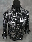 Mens BARABAS Button Front Shirt Black w/ Silver Foil Abstracts in CLASSIC FIT