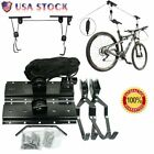 Bike Bicycle Lift Ceiling Mounted Hoist Storage Garage Hanger Pulley Rack LOT MX