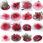 Red Women Handamde Fascinator Feather Hair Clips Cocktail Ascot Party Accessory