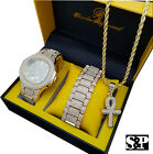 ICED OUT HIP HOP GOLD PT WATCH & ICED ANKH CROSS NECKLACE & BRACELET COMBO SET  image