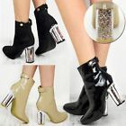 Ladies Womens Low Block Heel Ankle Buckle Zip Casual Boots Glitter Shoes Size