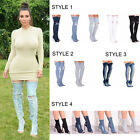 Ladies Women Denim Ankle Over The Knee Thigh High Boots Stretchy Party Shoe Size