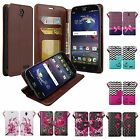 ZTE ZMax Champ, ZTE Grand X3,  ZMax Grand, Magnetic Flip Fold Wallet Case Cover