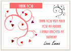 10 Personalised THANK YOU CARDS  & envs, thanks girl birthday party HEART TREE