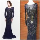 NWT PRIMAVERA COUTURE 1701 LONG SLEEVE EMBLISHED MIDNIGHT-BLUE  GOWN $599 SZ 4,6
