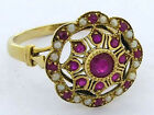 R289- Genuine 9K, 10K, 18K Gold Natural Ruby & Pearl Cluster Ring in your size