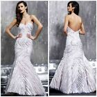 JOVANI WEDDING/PROM/EVENING MARMAID WHITE/NUDE STRAPLESS GOWN $789 AUTENTIC $199