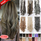 Kyпить Mega Thick Real Natural as human Hair 8Pcs Full Head Clip In Hair Extensions lzy на еВаy.соm