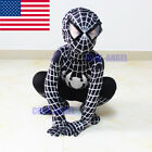 Boys Black Spiderman Venom Costume Kids Christmas Cosplay Party Zentai Bodysuit
