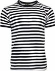 Run & Fly Black and White Striped Short Sleeve T-Shirt 60s Retro
