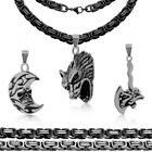 1 Steel Necklace Curb Link Chain + 1 Pendant Skull Ax Moon Wolf Gothic Men Kit