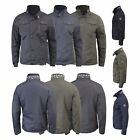 Mens Winter Jacket Crosshatch Woodrow Double Collar Zipped Utility Style Coat