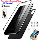Baseus 3D Curved Front & Back Tempered Glass Screen Protector Film For iPhone X