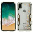 For iPhone X 10 TUFF Hybrid Bling Liquid Glitter Quicksand Case Protective Cover