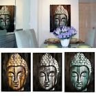 Wood Buddha Oil Painting on Canvas - 60x80cm - Head Face Art Wall Picture