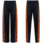 New Popper Side Stripe Wide Tapered Sport Trousers Button Palazzo Pants Bottoms