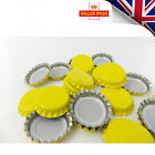 100 x YELLOW Crown Caps Capping 26mm Home Brew BOTTLING GLASS & PET -ᴓ26mm UK