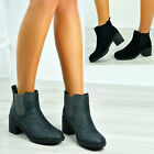 New Womens Ladies Chelsea Ankle Boots Chunky Block Heels Shoes Size Uk 3-8