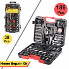186 pc Tool Set & Case Auto Home Repair Kit SAE Metric LIFETIME Warranty FEDEX