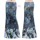 Women's LONG SKIRT Plus Paisley Floral Tropical Black Maxi S/M/L/XL/1XL/2XL/3XL