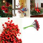 100x Christmas Leaf Tree Fruit Cherry Branch Ornaments Xmas Tree Hanging Decor