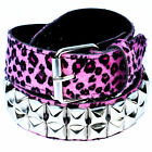 Pink Leopard Pyramid Studded Belt - Punk Rockabilly