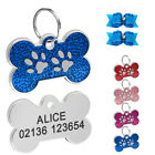 Personalized Dog Tags Engraved Cat Puppy Pet ID Name Collar Tags Bone Glitter