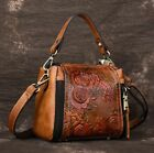 New Vintage Women Genuine Cow Leather Shoulder Bag Embossed Handbag Purse XS