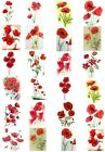 65 Mixed Poppy Flower Small Sticky White Paper Stickers Labels NEW