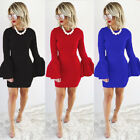Sexy Women Pagoda Sleeve Fashion Bodycon Short/Mini Dress Evening Party Cocktail
