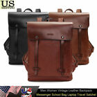 Men Women Vintage Leather Backpack Messenger School Bag Laptop Travel Satchel