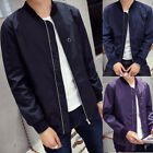 Men's Slim Fit Jacket Zipper Solid Color Coat Overcoat Warm Casual Outwear Tops