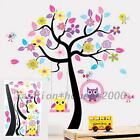 Wild Animal Owl Tree Flower Wall Sticker Decals Kids Baby Children Bedroom Cute