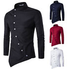 Men's Slim Fit Casual Shirt Long Sleeve Asymmetrical Dress Shirt T-Shirt Tops