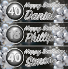 CHROME Personalised Birthday Banner : Any Name : Any Age : Printed 36in x 12In