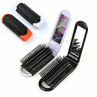 Folding Hair Brush With Mirror Compact Pocket Size Travel Comb Car WOW