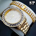 MEN HIP HOP CELEBRITY STYLE LUXURY WATCH & 2 ROWS DIAMONDS BRACELET GIFT SET