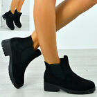 Womens Black Ankle Boots Ladies Chelsea Suede Low Heel Winter Shoes Size Uk 3-8