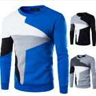 Fashion Men's Stitching Knit Pullover Sweater Casual Long-sleeved Blue Clothing