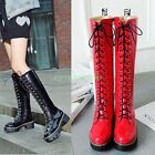 Womens Knee HIgh Long Riding Equestrian Lace Up Boots Knight Round Toe Shoes HOT