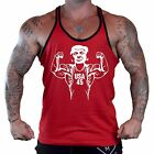 Men's Buff Trump Red Stringer Tank Top American President Flex Workout Gym Tee