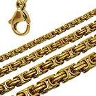 Necklace Stainless Steel Chain Massive Link Byzantine Hip Hop Men Unisex Gold