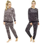 LADIES ANIMAL PRINT TWOSIE FLEECE FAUX FUR PYJAMA SET LOUNGE WEAR XMAS GIFT NEW