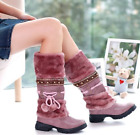 2018 Women's Boots Winter Warm Snow Boots Thicken Fur Scrub Suede Flats Shoes