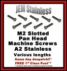M2 Slotted Pan Head Stainless Steel Machine Screws A2 Micro Model Making