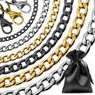 1 Necklace Curb Chain Link or Bracelet Men Women Stainless Steel Small Massive